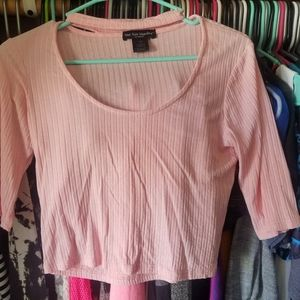 Baby Pink Choker Half Sleeve Ribbed Stretch Top